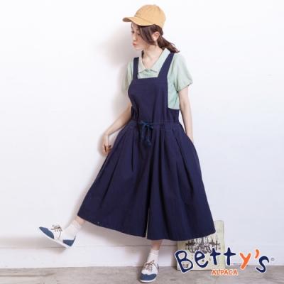 betty's貝蒂思 學院風寬鬆吊帶連身褲裙(深藍)