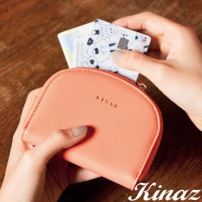 KINAZ 驚喜圓滑貼心分層零錢包-能量珊瑚橘-小物魔法系列-快