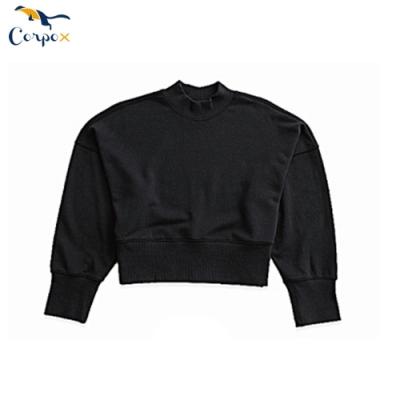 CorpoX-女款短版小立領長袖衫-黑