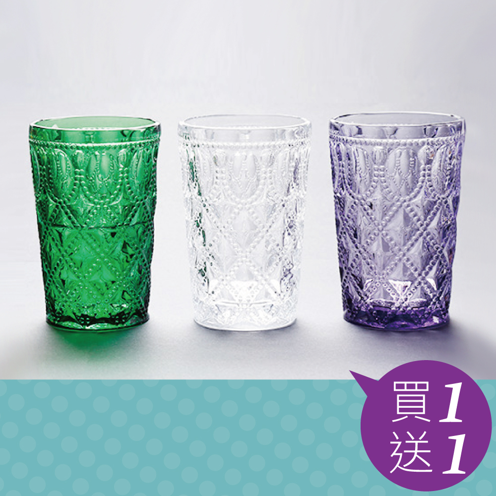 買一送一 Homely Zakka 午茶食光歐式古典浮雕玻璃杯甜點杯-寶石格紋400ml