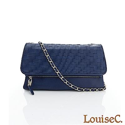 LouiseC.羊皮波浪編織包 --藍色06L05-0017A09