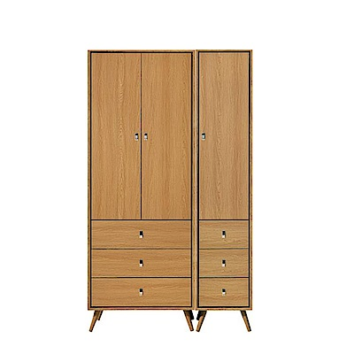 MUNA布朗克斯3.8尺三抽衣櫥(衣櫃) 115X59.5X196cm