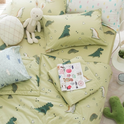 OLIVIA  淘氣恐龍 綠 標準單人床包夏日涼被三件組  200織精梳純棉 台灣製