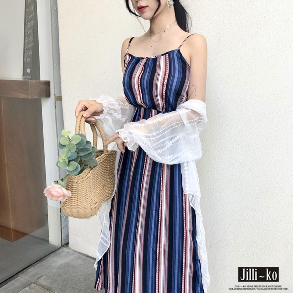 JILLI-KO 細肩帶條紋連衣裙- 紅/藍