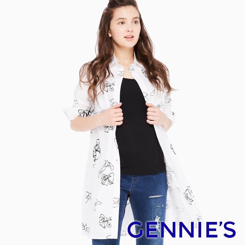 Gennies專櫃-隨性手繪風長版襯衫/洋裝(T1E06)-白