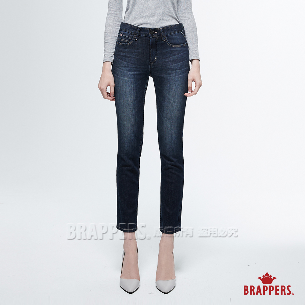 BRAPPERS 女款 新美腳ROYAL系列-中高腰彈性W刺繡鑲鑽七分褲-藍--動態show