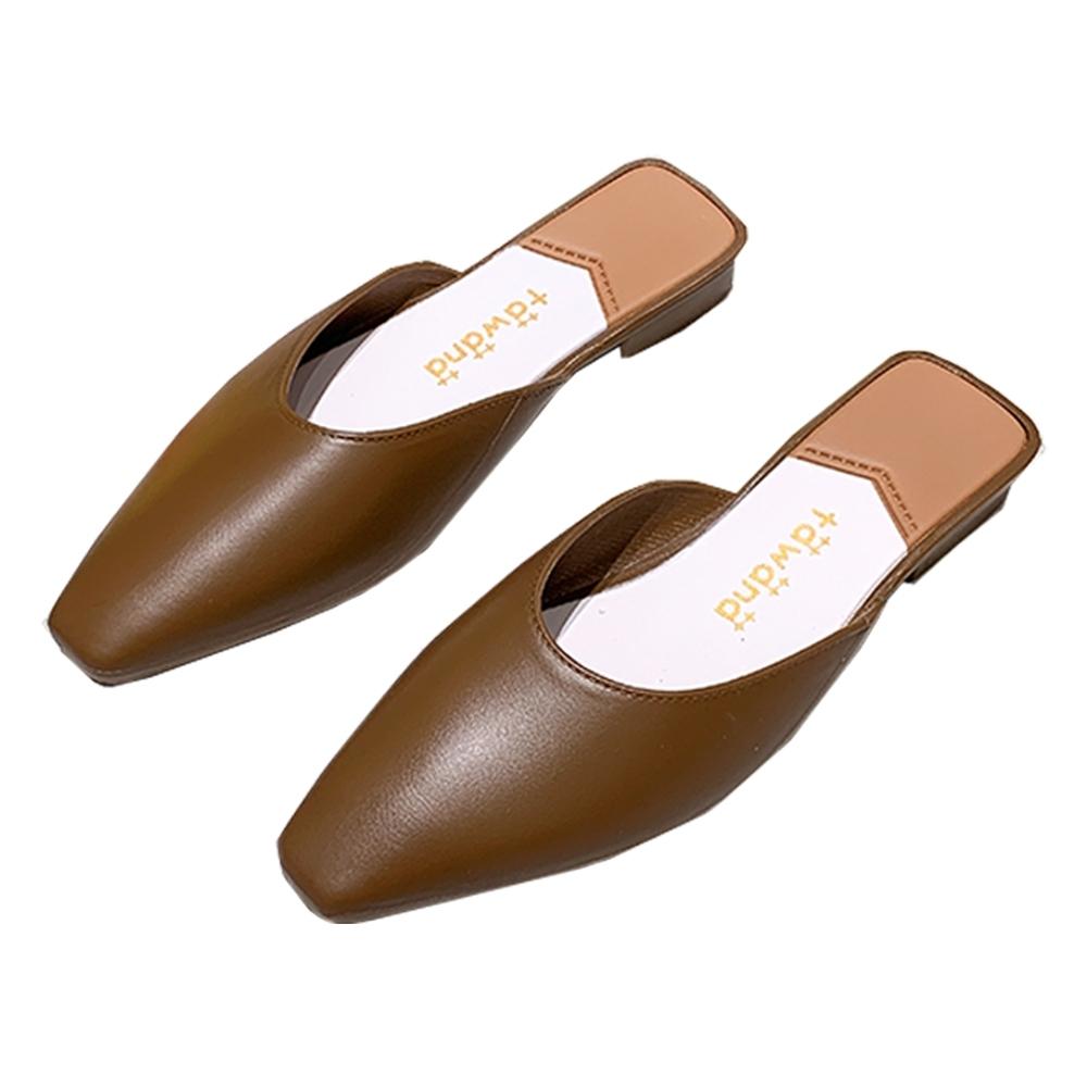 KEITH-WILL時尚鞋館 簡約慵懶風小方頭晴雨可穿穆勒鞋-棕