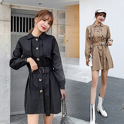 DABI 韓國風設計感帥氣排釦長袖洋裝