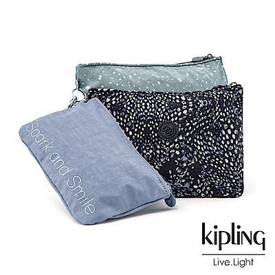 Kipling 奇幻藍羽斑紋多袋實用配件包-IAKA L WRISTLET