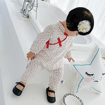 Baby unicorn 粉白梅花盤扣長袖連身衣包屁衣