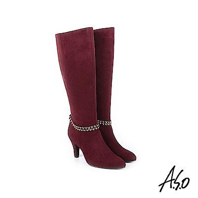 A.S.O 百變女伶 可拆卸金屬飾釦絨面長靴 酒紅
