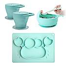 EXPECT 矽膠幼兒學習餐具組(折疊零食杯2入+螃蟹餐盤+蝸牛碗)