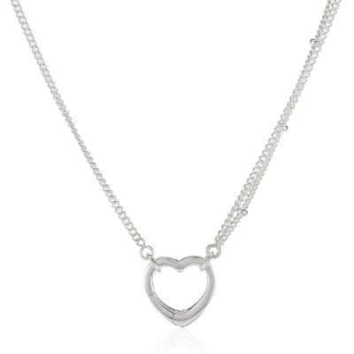 Pandora 潘朵拉 鏤空愛心 925純銀長項鍊