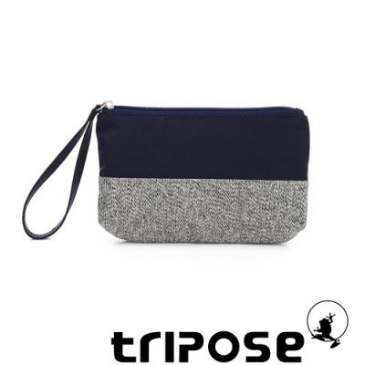 tripose漫遊系列岩紋x微皺尼龍多功能手拎袋(大)深藍