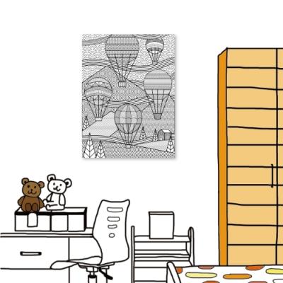 24mama掛畫 單聯式 無框畫掛畫 40X30cm - 熱氣球線繪