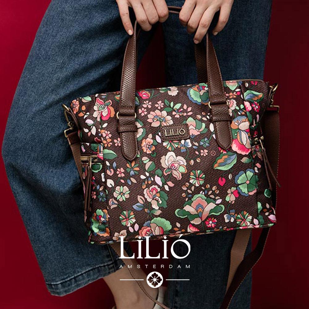 斜背方型托特包-英倫風印花經典系列-質感黑 - LiliO