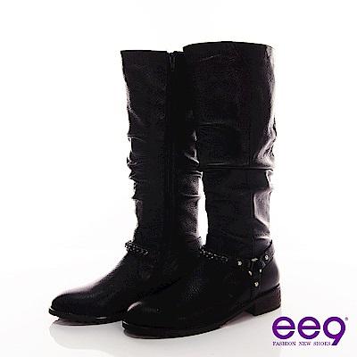 ee9 極簡雅緻~超質感皮革抓皺釘釦長筒靴~流行黑