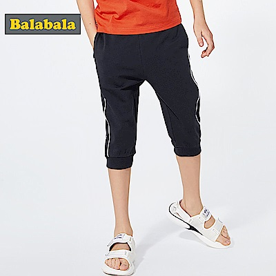 Balabala巴拉巴拉-側邊條紋七分彈性休閒棉褲-男(3色)