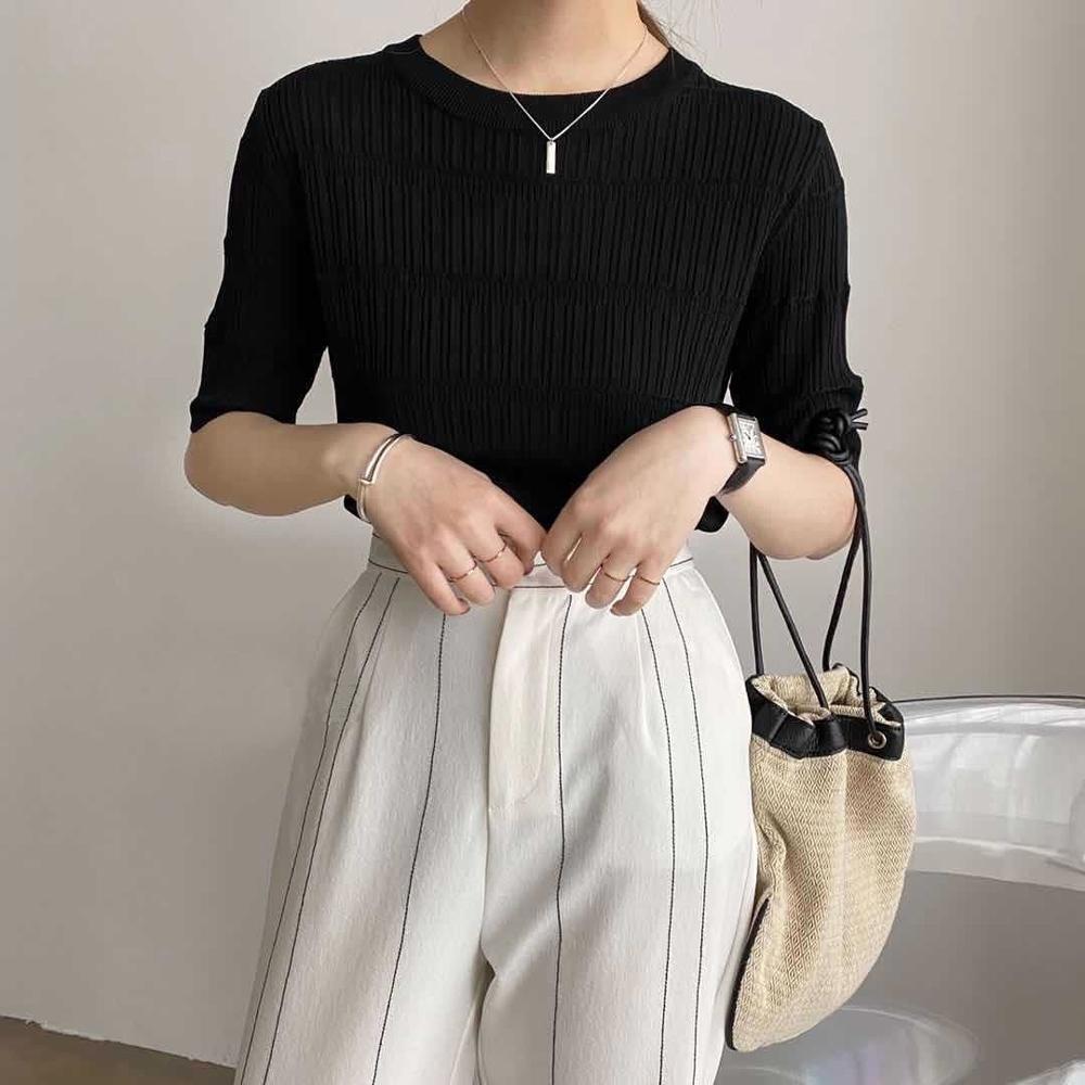 ALLK 歐楷 超彈力冰絲針織上衣 共6色(尺寸F 任選) (黑色)
