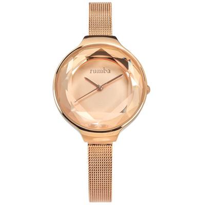rumba time 紐約品牌 切割玻璃鏡面 米蘭編織不鏽鋼手錶-鍍玫瑰金/30mm