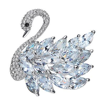 RJ New York冷豔天鵝高貴手工鑲鑽水晶胸針別針兩用 7色可選