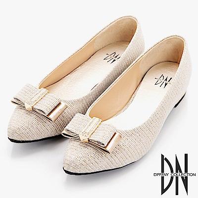 DN 細緻單品 閃耀金蔥布尖頭包鞋-金