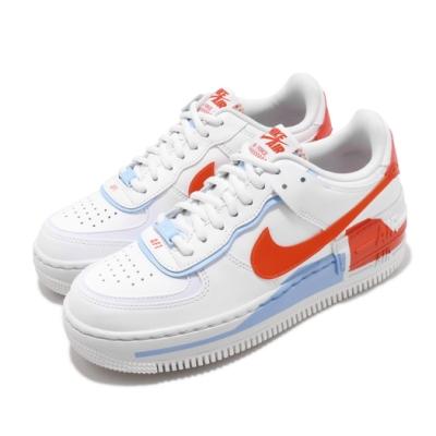 Nike 休閒鞋 AF1 Shadow 運動 女鞋 經典款 色塊 拼接 舒適 簡約 穿搭 白 紅 CQ9503100