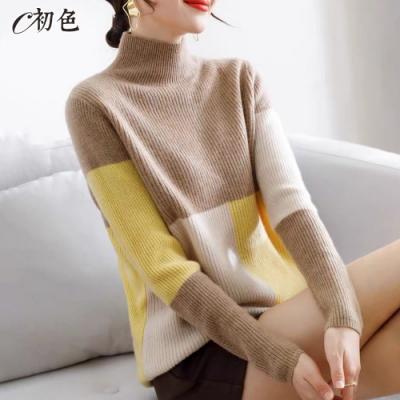 初色  韓系拼色高領毛衣-共3色-(F可選)