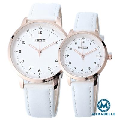 Mirabelle簡約點時 銀框白面皮革男女對錶 白(KEZZI)