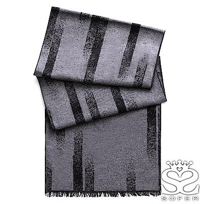 SOFER 暈染條紋100%蠶絲圍巾 - 灰