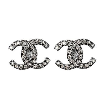CHANEL香奈兒 經典雙C LOGO 鑲嵌水鑽銀色耳環