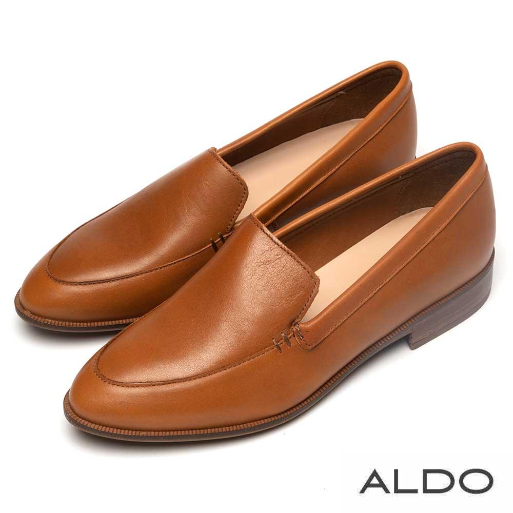 ALDO 質感真皮鞋緣翻摺木紋跟尖頭樂福鞋~都會焦糖