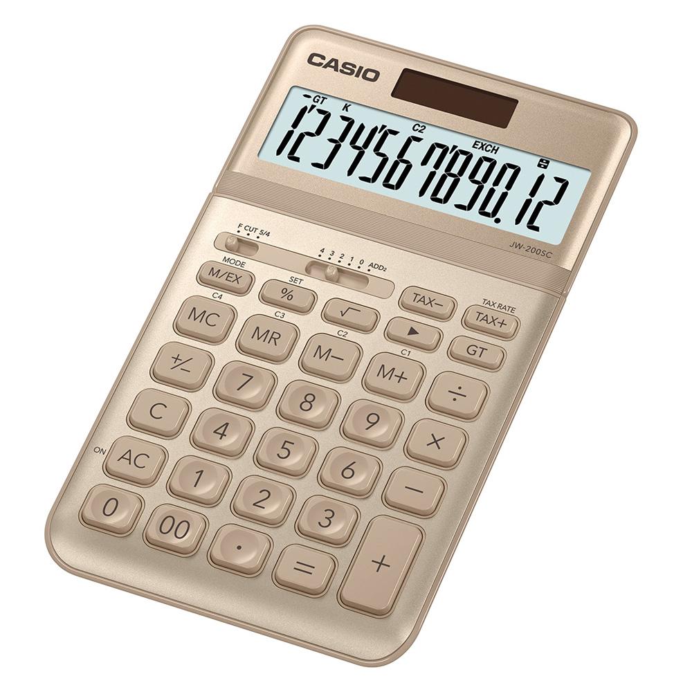 CASIO 12位元時尚霧面系列桌上型計算機(JW-200SC-GD)-香檳金