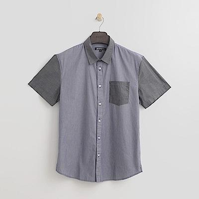 Hang Ten男裝拼接丹寧襯衫-灰色