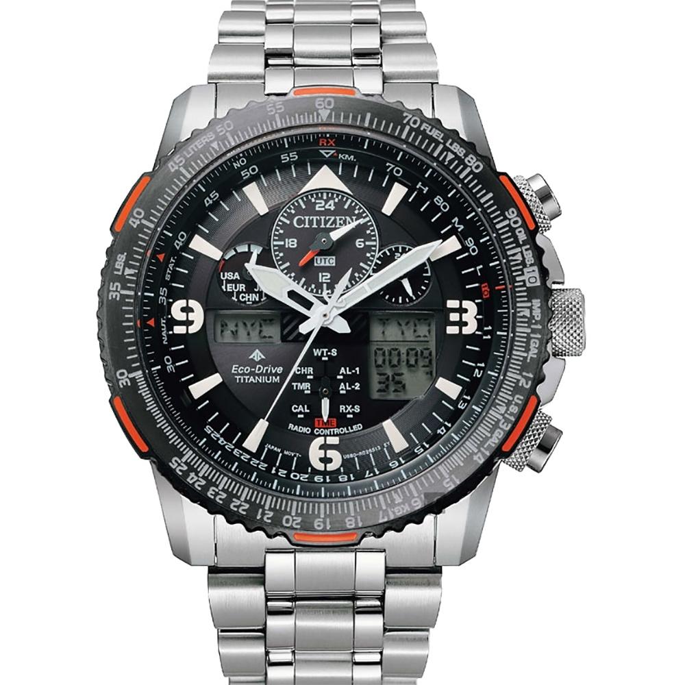 CITIZEN 星辰 光動能電波 鈦金屬航空手錶(JY8109-85E)