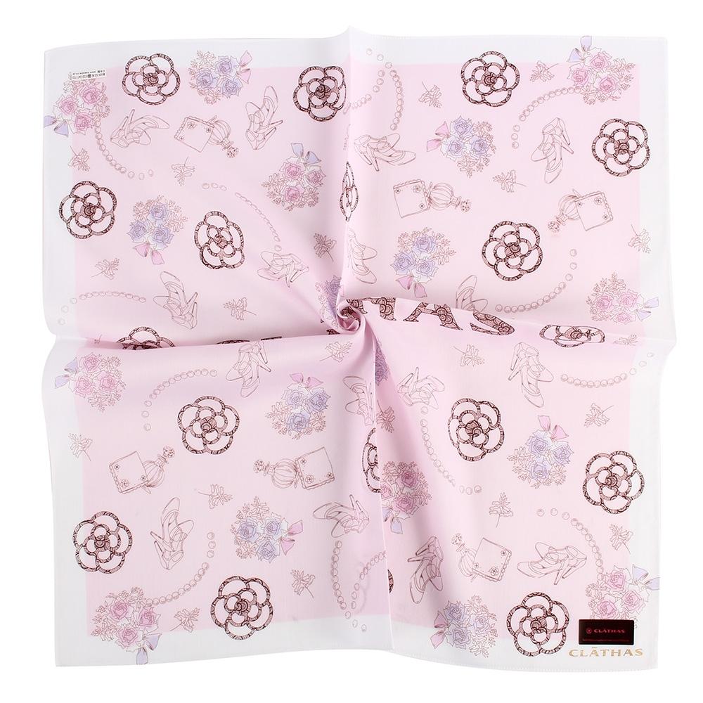 CLATHAS經典燙金LOGO手繪少女風花朵帕巾-粉紅色