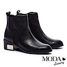 短靴 MODA Luxury 經典質感金屬片點綴牛皮粗跟短靴-黑