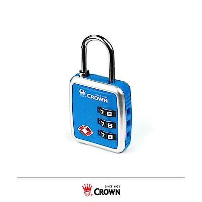 CROWN 皇冠 美國TSA海關密碼鎖 扣鎖 藍