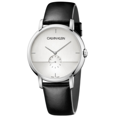 Calvin Klein CK 紳士簡約小秒針皮帶腕錶(K9H2X1C6)43mm