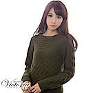 Victoria 麻花織紋拉克蘭袖長版線衫-女-軍綠