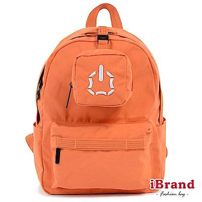 iBrand後背包 簡約素色輕旅行多功能後背包-橙色