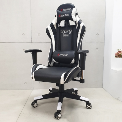 LOGIS-時尚黑白飆速皮面電競椅 電腦椅 賽車椅 皮椅
