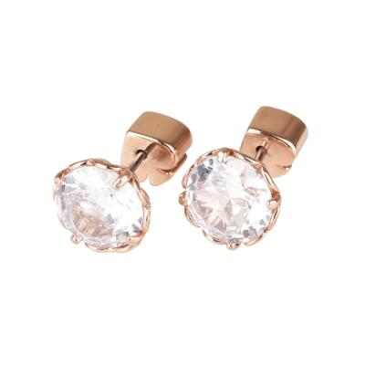 kate spade 黑桃LOGO圓形設計鑽鑲飾穿式耳環(玫瑰金x白)