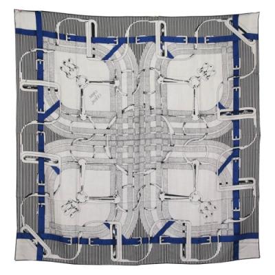 Hermes 愛馬仕 Mors a Jouets Chemise shawl 馬繩索真絲披肩(黑白藍)