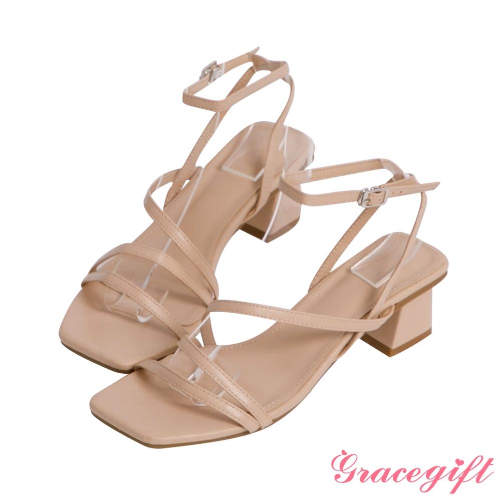 Grace gift-Z字細帶繞踝中跟涼鞋 杏