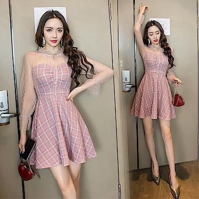 DABI 韓系名媛條紋蕾絲拼接花邊領長袖洋裝
