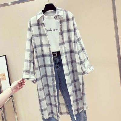 La Belleza線條格子長版開釦襯衫寬鬆罩衫外套