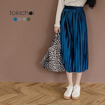 東京著衣 多色古典美人質感絨毛百褶長裙-S.M.L.XL.XXL(共四色)