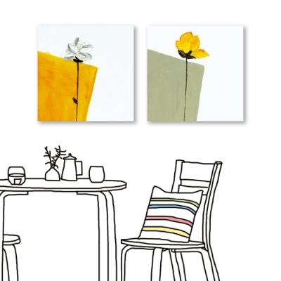 24mama掛畫-二聯式 黃白花卉 除舊佈新 油畫風無框畫 60X60cm-協調