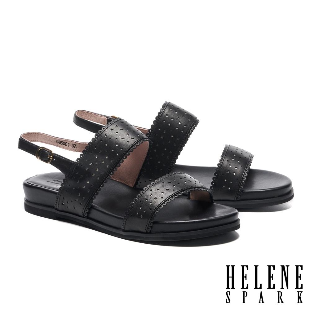 涼鞋 HELENE SPARK 氣質百搭一字沖孔楔型低跟涼鞋-黑